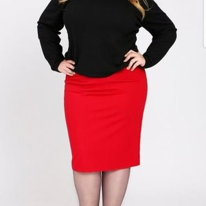 Fashion to Figure Coral Red Pencil Skirt